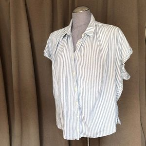 Madewell classic white blue ticking stripe top L